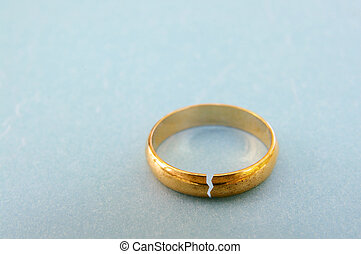 closeup of a gold wedding ring with a crack in it ( divorce...