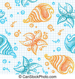 hand drawn pattern of starfishes and shells - hand drawn...