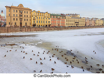 Winter Urban view, river Fontanka in St Petersburg, Russia -...