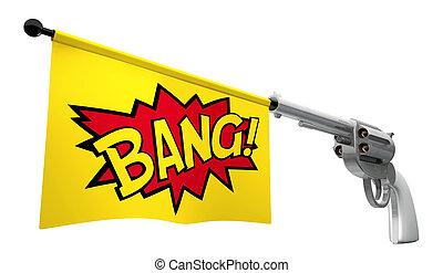 Gun Bang - A gunpointed towards the camera with a flag...