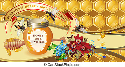 Background with honeycombs - Closed honey jar, wooden...