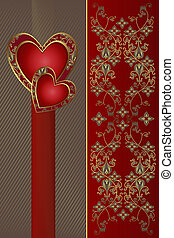 Congratulation card with red hearts