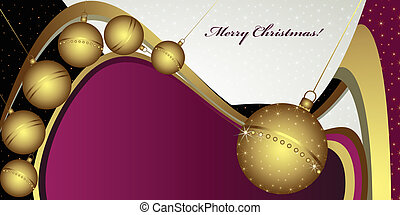Deep Christmas greeting with globes and golden decoration