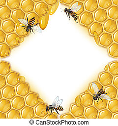 Bees and honeycomb  - Background with bees, and honeycomb