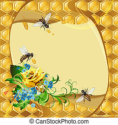 Background with bees and rose - Background with bees, yellow...