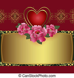 Congratulation card with red heart and roses Illustration...
