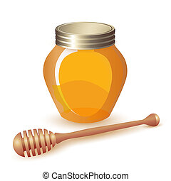Closed honey jar and wooden dipper
