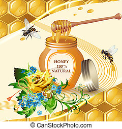 Jar of honey with wooden dipper,