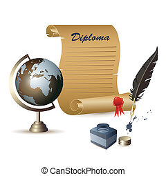 Diploma and globe - Diploma, globe, ink pot and a feather