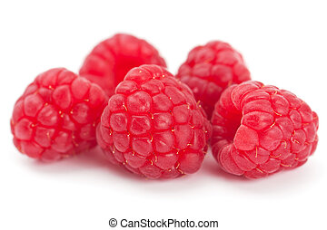 Ripe juicy fresh raspberries - Studio closeup on white of...