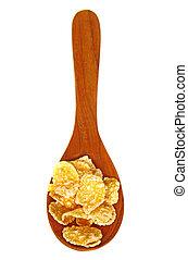 legno, granaglie, isolato, cucchiaio, fiocchi, fondo, bianco