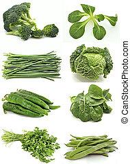 ścienny, zielony, warzywa