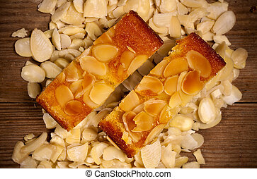 Almond cake. - Two delicious almond sponge slices on a...