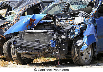 Blue car crash - Multiple vehicle collision in high speed...