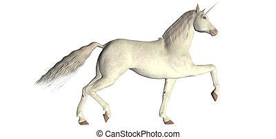 White Unicorn - Illustration of a white unicorn isolated on...