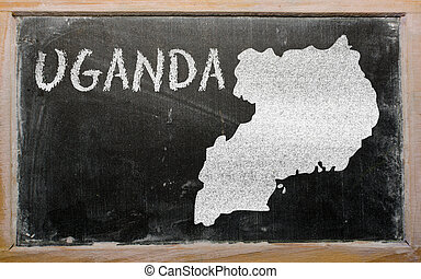 outline map of uganda on blackboard - drawing of uganda on...