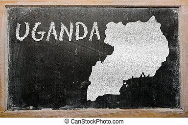 outline map of uganda on blackboard - drawing of uganda on...
