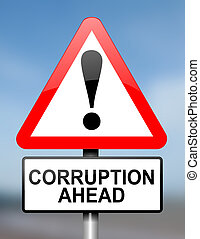 Corruption warning. - Illustration depicting red and white...