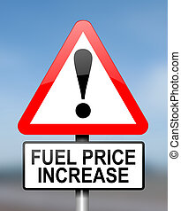 Fuel price warning. - Illustration depicting red and white...