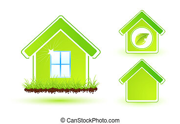 Eco house icon - Abstract green nature eco icons