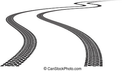 Tire Track - Road Tire Track Illustration on white...