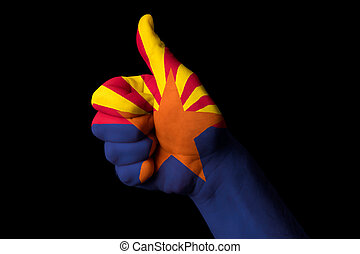 arizona us state flag thumb up gesture for excellence and achiev