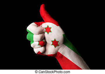 burundi national flag thumb up gesture for excellence and achiev