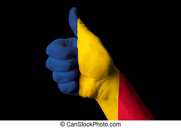 chad national flag thumb up gesture for excellence and achieveme