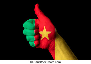 cameroon national flag thumb up gesture for excellence and achie