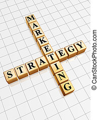 golden marketing strategy like crossword - 3d golden cubes...