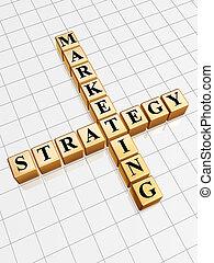 golden marketing strategy like crossword - 3d golden cubes...