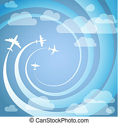 Airplanes with the spiral trajectories