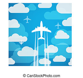 Airplanes in the sky with clouds