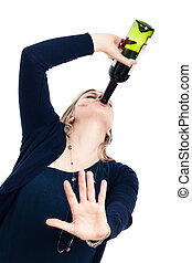 Drunk woman drinking wine and gesturing stop
