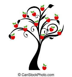 Apple Tree - Beautiful apple tree isolated on white...