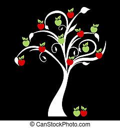 Apple Tree - Beautiful apple tree isolated on black...