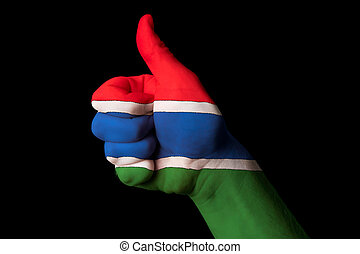 gambia national flag thumb up gesture for excellence and achieve