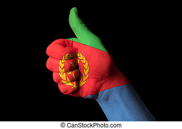 eritrea national flag thumb up gesture for excellence and achiev