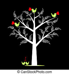 Valentine Tree - Beautiful valentine tree isolated on black...