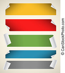 Collection of color blank paper ribbons with bending corners