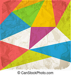 Blank damaged piece of paper with color triangles