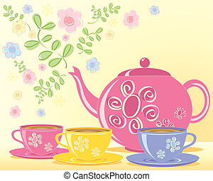 teapot - an illustration of a pink decorated teapot and...