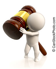 The weight of the law - A person carrying a very large and...