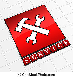 icon service - Red abstract icon with text service and tools