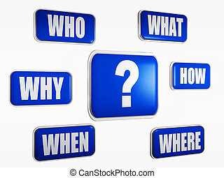 question concpet - Question sign and word why, where, when,...