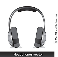 headphones with shadow over white background vector
