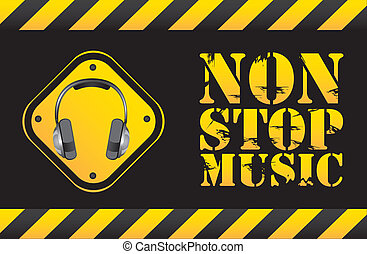non stop music text with headphones. vector illustration