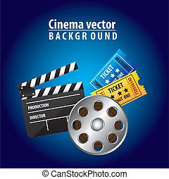 cinema vector - clapper board with movie film and tickets...