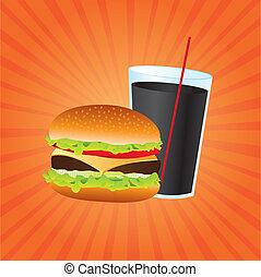 fast food - hamburger and beverage over orange background,...