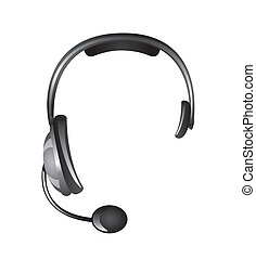 headphones isolated over white background, receptionist....